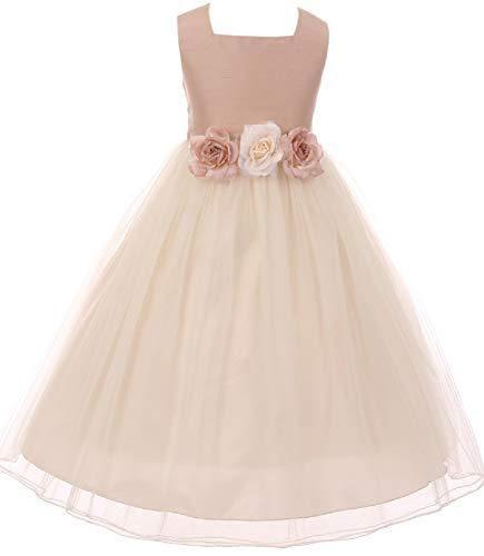 Classic Silk Bodice Elegant Waist Baby Little Girl Graduation Flower Girls Dresses (42KD8) Vintage Rose L ()