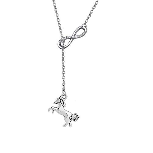 Gzrlyf Horse and Infinity Lariat Necklace Equestrian Jewelry Horse Lover Gifts (Y-Necklace)