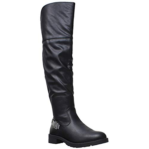 d1a93eb61a06 Generation Y Womens Knee High Boots Leather Motorcycle Riding Buckle Casual  Shoes Black SZ 8