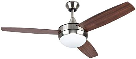 Harbor Breeze Beach Creek 44-in Brushed Nickel Integrated LED Indoor Downrod Or Close Mount Ceiling Fan