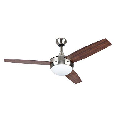 Harbor Breeze Beach Creek 44-in Brushed Nickel Integrated LED Indoor Downrod Or Close Mount Ceiling Fan with Light Kit and Remote