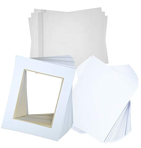 University Double Frame (Hall of Frame Pack of 25 16x20 Double Picture Mats with White Core Bevel Cut for 11x14 Picture Matte Sets + Backing + Bags, White Over Gold (16x20 Complete Set))