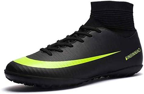 靴 人のための最高の滑り止めの身につけられるおよび快適なフットボールのブーツのサッカーのクリート (色 : TF Black, サイズ : 7)