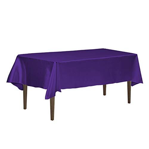 Dark Purple Satin - LinenTablecloth 60 x 126-Inch Rectangular Satin Tablecloth Purple