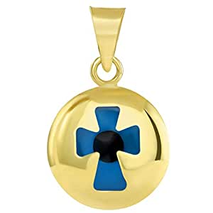 14k Yellow Gold Small Blue Evil Eye Religious Cross Pendant (18.5mm x 12.4mm)