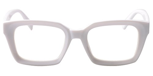 SOOLALA Retro Desinger 47mm Large Lens Square Reading Glass Big Eyeglass Frame, White, 1.0 ()