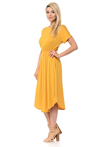 luxe Sleeve iconic Women's Solid and Mustard Made with Midi Floral Pockets Short USA in Flare in Dress dqtqwnTrUx