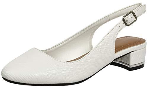 Cambridge Select Women's Closed Toe Chunky Block Low Heel Slingback Pump,8 M US,White Pu ()