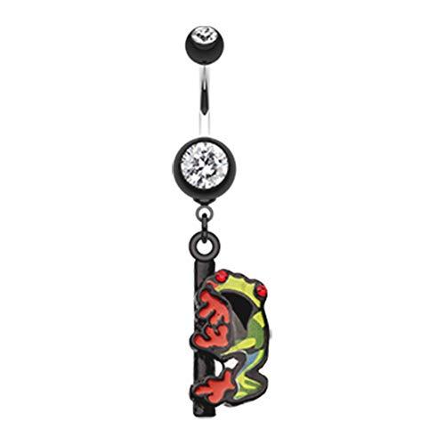 Dangling Ring Frog Belly Button - 14 GA Dangling Gem Frog Belly Button Ring (Davana Enterprises) (14GA Black)