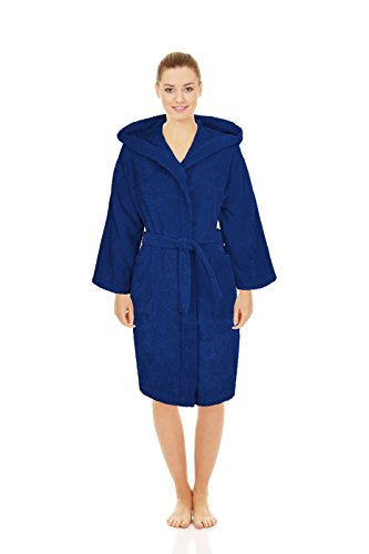 Silken Teenager Robe 100% Turkish Cotton Terry Hooded Bathrobe Extremely Absorbent Towel (Navy, X-Large | 44'' | 12+ Ages) by Silken (Image #2)