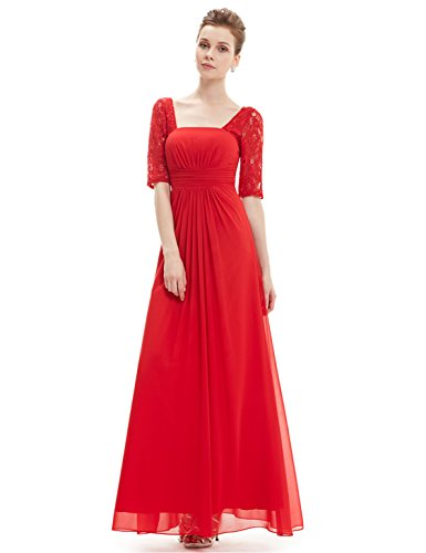 Ever-Pretty Womens Floor Length Long Sleeve Formal Bridesmaids Dress 12 US Vermillion (Long Sleeve Bridesmaid)