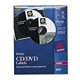 Laser CD/DVD Labels, Matte White, 40/Pack, Total 5 PK, Sold as 1 Carton