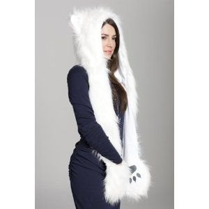 Wolf Sexy Costumes (DJDesigns Custom White Faux-Fur Wolf Hat)