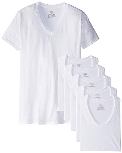 - Hanes Men's White V-Neck T-Shirts (X-Large (46-48), White (6 Pack))