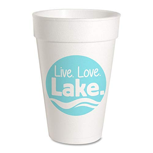Live Love Lake Party Cups - Styrofoam 16oz 10 Pack
