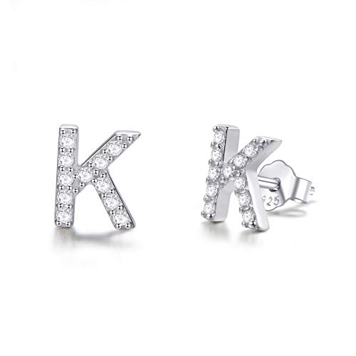 (925 Sterling Silver Cubic Zirconia Small Letter Initial Stud Earrings Alphabet A-Z For Kids Teen Girls Women )