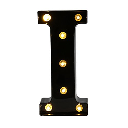 Pooqla Decorative LED Illuminated Letter Marquee Sign - Alphabet Marquee Letters with Lights for Wedding Birthday Party Christmas Night Light Lamp Home Bar Decoration I, Black