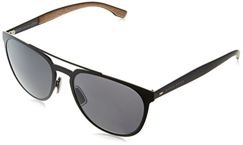 BOSS by Hugo Boss Men's B0882s Aviator Sunglasses, Matte Black/Gray Blue, 57 mm