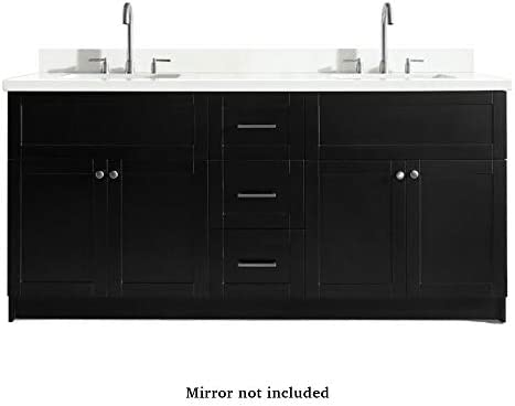 DKB Bradford Series 73 Inch Double Rectangle Sink Bathroom Vanity Cabinet in Black Pure White Quartz Countertop 4 Soft Closing Doors 3 Full Extension Dovetail Drawers No Mirror