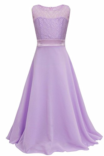 iEFiEL Big Girls Lace Chiffon Bridesmaid Dress Dance Ball Party Maxi Gown Lavender 11