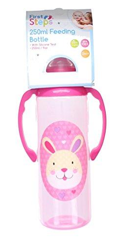 First Steps Jungle Pals Gripper Baby Feeding Bottle Silcone Teat BPA Free 250ml-Pink Rabbit