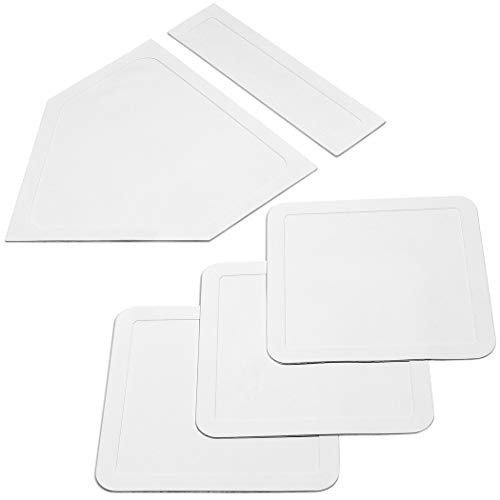 GoSports Baseball & Softball 5 Piece Base Set | Rubber Field Bases for Kids & Adults, White