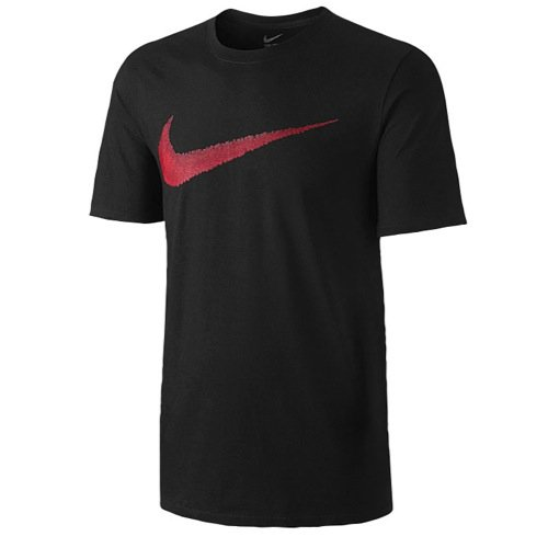 Nike Men's Sportswear Swoosh T-Shirt Black/Sport Red Large