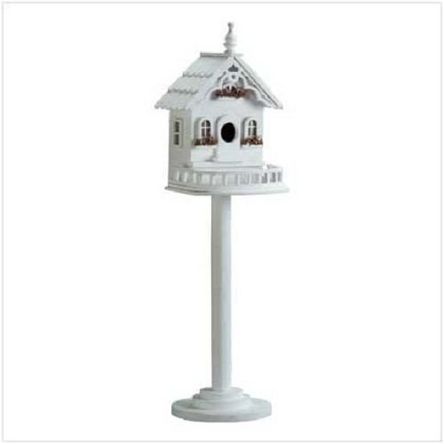 GHP 9 3/8″ x 8 3/8″ x 29 1/4″ Wood Tall White Victorian Birdhouse on Stand For Sale