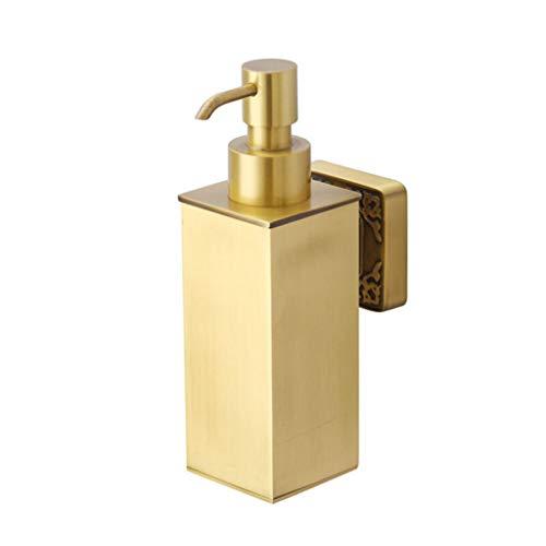GOPG Wall Mounted Brass Soap Dispenser, Manual Refillable Rustproof Liquid Soap Dispenser for Shower Gel Shampoo Lotion Dispenser-Gold