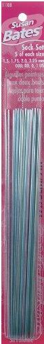 Silvalume Double Point Knitting Needles 7 20/Pkg Sock Set-Sizes 000 To 1 - Crystalites Knitting Needles
