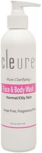 Cleure Face & Body Wash for Oily, Sensitive Skin | Gentle Face Wash | Fragrance Free - Paraben Free - SLS Free | 8 Fl Oz