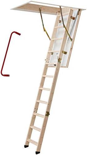 Bodentreppe | wärmegedämmt | U-Wert 1,30 | 120 x 60 cm | 3-teiliges Leiternteil | Lichte Raumhöhe bis 285 cm | Inkl. Bedienstab und Handlauf | 150 kg Traglast | Dachstiege | Dachbodentreppe