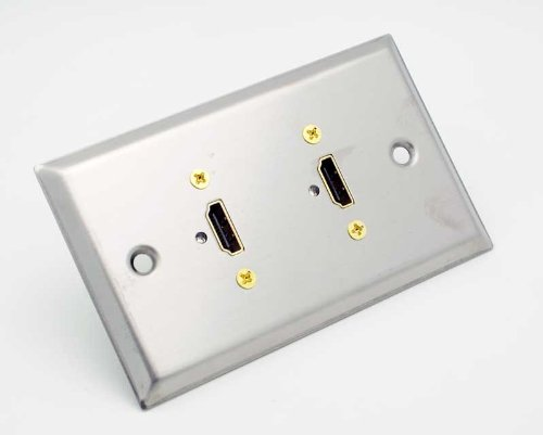 Price comparison product image Stainless Steel Wall Plate with Two HDMI Feed-Thru Connectors : 75-701