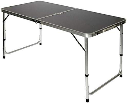 AMANKA Tavolino da PIC-nic 120x60x70cm Tavolo da Campeggio in Alluminio Altezza Regolabile Pieghevole Formato Valigia Grigio Scuro