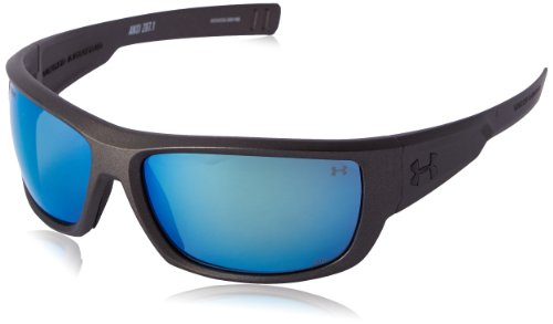 (Under Armour Men's UA Rumble Polarized Rectangular, Satin Carbon 67 mm)