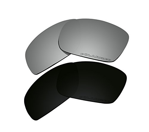 2 Pairs Polarized Lenses Replacement Black & Black Iridium for Oakley Fives Squared New (2013) OO9238 -