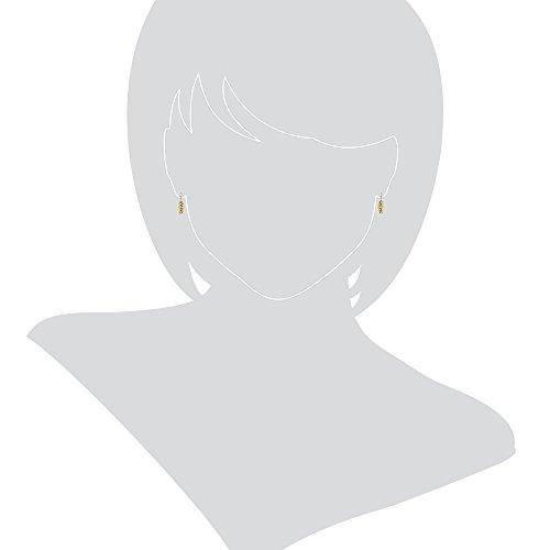 Gioiello Italano Boucles d'oreilles en or blanc et or jaune 18 carats avec zircon