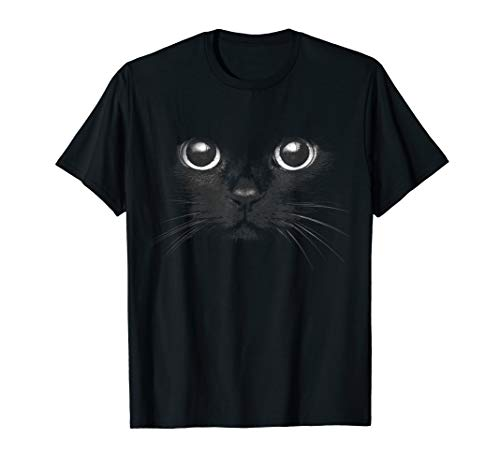 Black Cat Face Graphic Design T-Shirt Funny Cat Lovers Gift ()