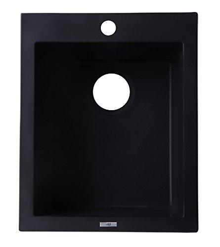 ALFI brand AB1720DI-BLA Drop-In Rectangular Granite Composite Kitchen Prep Sink, 17