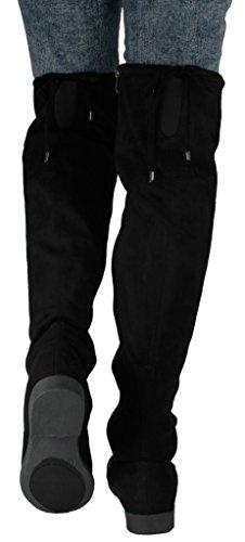 Scarpe Jjf Donna V-hi Fashion Slouchy Punta Rotonda Suola In Finta Pelle Scamosciata Polsini Con Taglio Sopra Il Ginocchio Stivaletti Neri_1