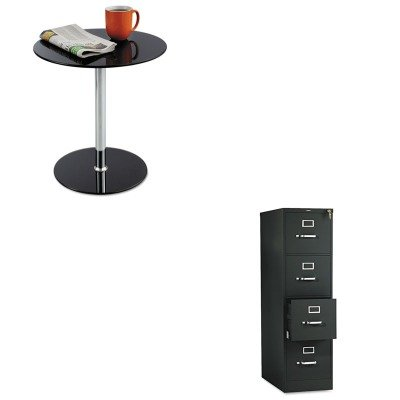 KITHON514PPSAF5095BL - Value Kit - Safco Glass Accent Table (SAF5095BL) and The HON Company HON 510 Series 4-Drawer Vertical File, Black (HON514PP) - Accent Table Series