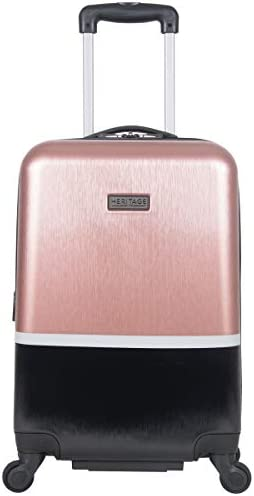 Heritage Travelware Charter Park 20in Lightweight Colorblock Hardside Expandable 4-Wheel Spinner Carry-On Suitcase, Rose Gold Black