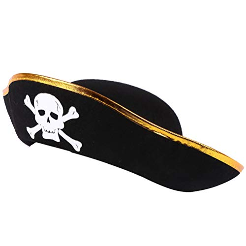 HUPLUE Felt Pirate Party Hat Adult Kids Pirate Toys Hat Costume Birthday Party Role Play Gifts Party Favor -