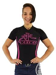 KEIKO SPORTS SPEED RASHGUARD S/S - BLACK/PINK - SIZE 16 YRS