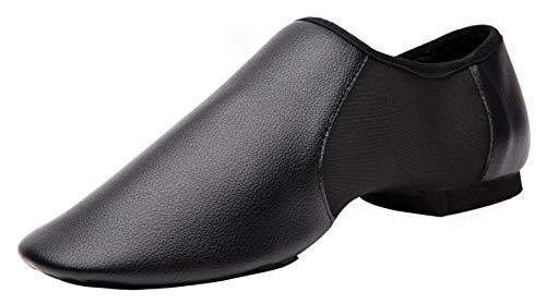Gogodance Elastic Leather Slip-On Jazz Dance Shoe (Toddler/Little Kid/Big Kid) (4 M Big Kid, Black)]()