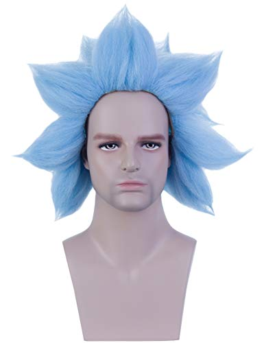 Angelaicos Men's Short Blue Wig Halloween Cosplay Costume Party Spiky Crazy Synthetic Hair Full Wigs