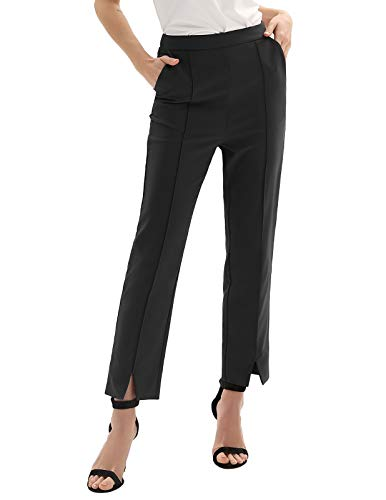 (GRACE KARIN Womens Casual Business Dress Pants Ankle Cropped Pant Tummy Control Black)