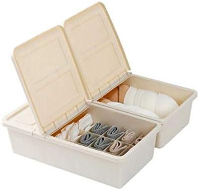 XOTF Caja de almacenamiento de ropa interior de plástico Compartimento con compartimento dormitorio Sujetador Calcetines Caja de almacenamiento femenina Ropa interior de ropa interior Caja de almacena: Amazon.es: Hogar