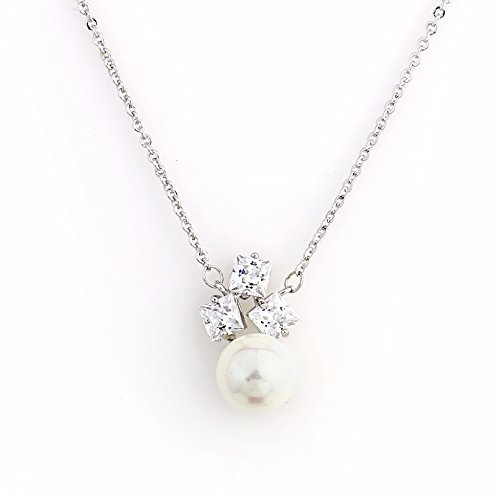 United Elegance - Sophisticated Silver Tone Designer Necklace with a Faux White Princess Cut Sapphire & Pearl Combination (Pearl 3) - Mother Of Pearl Sapphire Necklace