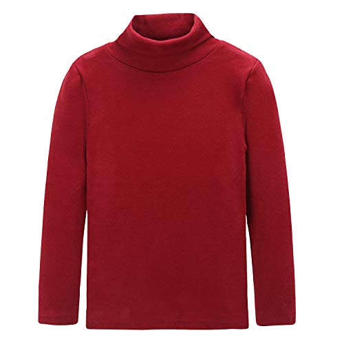 CUNYI Boys Girls Turtleneck Long Sleeve Cotton T-Shirts Solid Color Tops, Wine, 150 ()